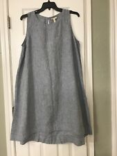 PM Eileen Fisher Chambray Yarn-Dyed Handkerchief Linen Round Neck K/L Dress