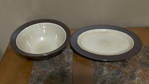 "Broyhill Attic Heirlooms 9"" Serving Serving Bowl & Platter, Tan Embossed Ring"