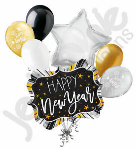 7 pc Happy New Years Eve Bursting Marquee Balloon Bouquet Party Decoration