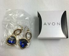 Avon Earrings Spice Moderne Double Drop Blue Goldtone Dangle Hook NIB   J9