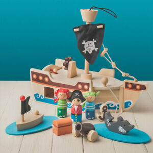 Wooden Pirate Ship Playset - Pre-school Toys - Wooden Toys - New
