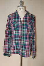 Tommy Hilfiger Plaid Madras  Purple Green Blue  Long Sleeve Button Down L