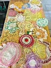 Lot Of 33 Assorted Styles & Sizes Colorful Vintage Crocheted Doilies