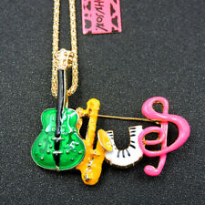 Betsey Johnson Enamel Music Saxophone Accordion Pendant Sweater chain Necklace