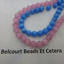 130 Beads Pink and Blue Cat's Eye Beads  Color 6mm Fiber Optic/Loose Gorgeous -
