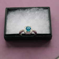 Beautiful 925 Silver Ring With Swiss Blue Zircon 1.5  Gr.1 Cm.Wide In Gift Box