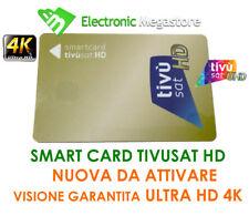 TESSERA SMART CARD TVSAT TIVUSAT HD 4K SATELLITARE SENZA DECODER E DA ATTIVARE