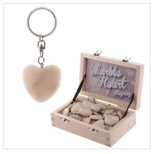 ❤️ White Marble Heart Key Ring ❤️ Cute I Love You Romantic Gift Idea