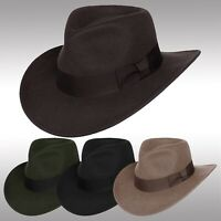Men's Wool Felt Crushable Indiana Jones Outback Safari Fedora Cowboy Hat Ehe01