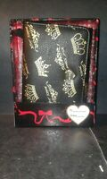 Betsey Johnson Crown wallet Boxed Small Flap Black+Gold.- NEW WITH TAGS
