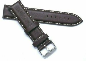 20mm Brown Leather White Stitching Men Watch Strap Silver, Gold,  Black Buckle
