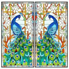 2 Roll Window Film Peacock Privacy Glass Decal Static Cling Window Decor Sticker