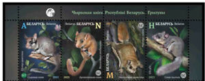 Belarus 2021 Red Book of the Republic of Belarus. Rodents  4 stamps from block