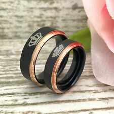 8mm/6mm King & Queen Ring,His & Her Personalize Anniversary Rings,Titanium Rings