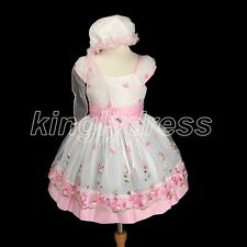 NEW 2PC Kid Baby Toddle Flower Girl Pageant Birthday Dress Hat Pink SZ 2T Z431C