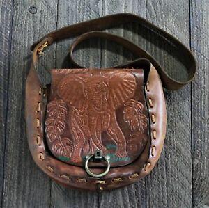 Vintage Hand Tooled Leather Elephant Hippie Boho Western Purse Saddle Bag