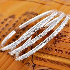 Ladies Jewelry 925 Sterling Silver Vintage Boho Open Cuff Bracelet Bangle Gifts
