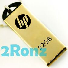 HP v225w 32GB 32G USB Flash Drive Memory Disk Capless Thumb Mirror Metal Gold
