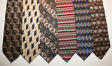 NEW Lot of 6 Designer Neck Ties with Patterns, David Taylor, Puritan & more L008