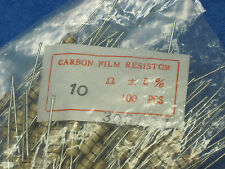 (LOT OF 100) FIRSTOHM Carbon Film Axial Fixed Resistors: 10 OHM 5% 1W