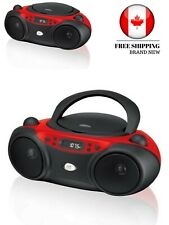 GPX Portable Top-Loading CD Boombox with AM/FM Radio - Red/Black