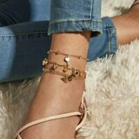 3pcs Summer Anklet Butterfly Multilayer Ankle Bracelet Beach Women Jewelry Set