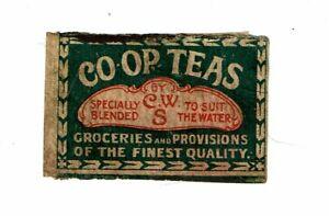 1 Old 1900s matchbox label CO-OP Teas CWS size 56x36mm