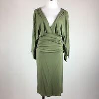 Boston Proper Women Dress S Dusty Green Deep V Front Back Ruched Waist Scarf Sl