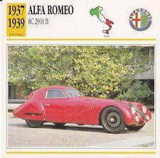 ALFA ROMEO 8C 2900 B - ITALIE 1937/39 - CARTE FICHE COLLECTOR VOITURE OLDTIMER