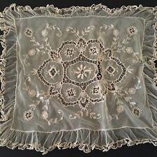 """Antique Vintage Edwardian Normandy Lace Pillow Cover 16"""" x 19"""""""