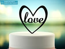 """""""Love"""" Heart Shapped - Black - Wedding Cake Topper - Made by OriginalCakeToppers"""