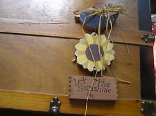 Gently Used Hand Made Wood Crow Sunflower LET THE SUNSHINE IN Painted Wood Door