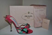$950+ Prada Bow Patent Slides Mules Heels Rocket Shoes Sz 35 Pink Green Black