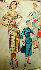 Vtg 50s Career or Casual Slim Day Dress Square Armhole Simplicity 1847 Bust 37