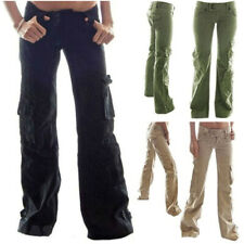 Plus Womens Cargo Trousers Military Army Combat Ladies Casual Loose Long Pants