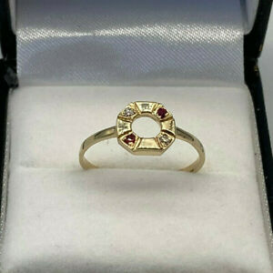 Vintage 9ct Gold Ladies Ruby & Diamond Ring.  Goldmine Jewellers.