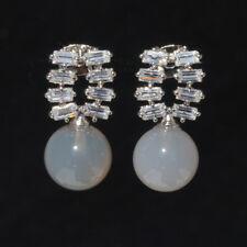 Handmade 100% Natural Agate Gem Gemstone White Gold Plated Earrings