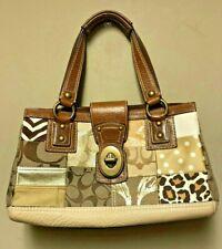 Coach Legacy Satchel Brown Leather & Animal Print Patchwork Hand Bag B0793-10816