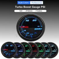 2'' 52mm LED Manomètre Jauge Pression Turbo Boost 30 PSI Mécanique 7 Couleur