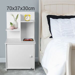 WhiteBedside Table Cabinet Nightstand Shelf Storage Bedroom Furniture Nightstand