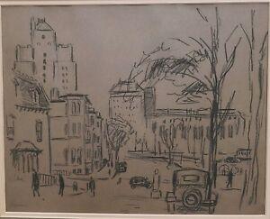 Charcoal Drawing of Downtown Newark-1920s-Bernard Gussow