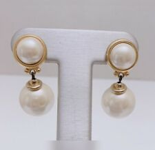 Dangling Faux Pearl Earrings Vintage Large Gold Tone Stud