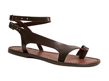 Brown leather ankle strap thong sandals for women Handmade in Italy