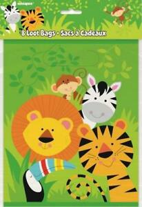 8 Animal Jungle Party Decorations Zoo Safari Loot Bags Lolly Treat Favours 52163