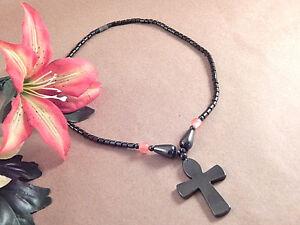 Hematite Cross Pendant Beaded Necklace Magnetic Charcoal Grey Stone Bead Jewelry
