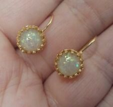 ❤️Earrings 9ct Gold Over Antique Fire ❤️ Opal Hoops Gift UK FREE Post Silver❤️