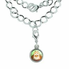 Hamster Eating Stash of Food Silver Plated Bracelet with Antiqued Charm