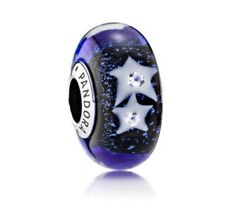 Pandora Charm Genuine Pandora Blue Starry Night Murano Glass Charm # 791662CZ