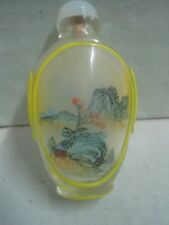 Antique Chinese Snuff Bottle painted inside glass and outside with a landscape