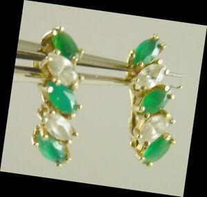 White Sapphire & Emerald Gemstone Earrings Vintage Pierced  14K Golf